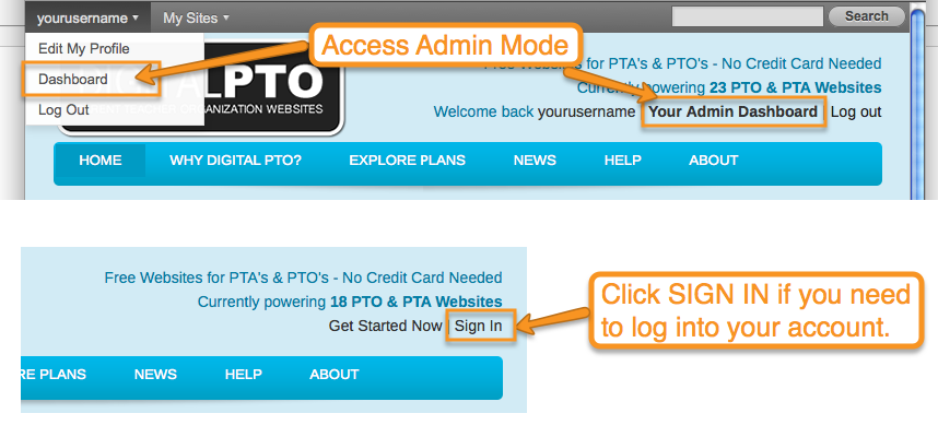 How to create a news post digital pto free websites for pta and please be sure you have logged into your account before trying to make edits to your website edits are performed in the admin section of your website pronofoot35fo Images
